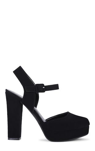 Platform Chunky Heel Shoes with Ankle Strap