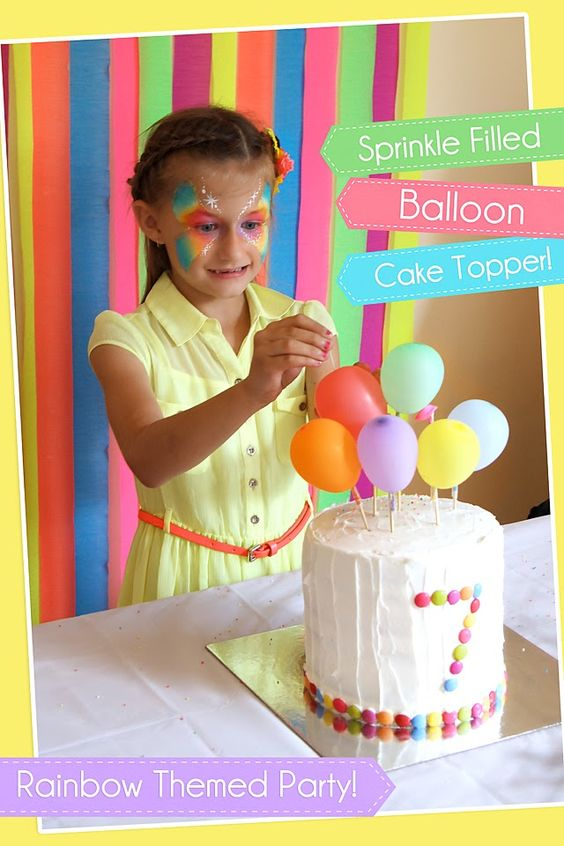 SPRINKLE FILLED BALLOON CAKE TOPPER! Photography by Michelle: Charlotte's 7th Birthday Rainbow Party!