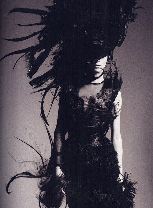 Fur and feathers outfit. #goth #gothic #costume #photography #woman #raven