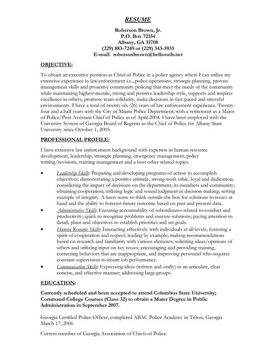 Police Captain Resume Example - http\/\/wwwresumecareerinfo - police officer resume example