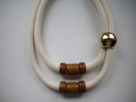 SALE 10mm Ivory Double Strand Cord Rope Necklace with Brown Greek Ceramic Slider Beads and Large Gold Round Bead