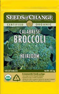 Seeds of Change S10933 Certified Organic Calabrese Broccoli by Seeds of Change. $4.99. Seeds of change contributes 1-percent of net sales to advance the cause of sustainable organic agriculture worldwide. 100-Percent certified organic seeds grown in the USA for over 20-year. Free of GMO's (genetically modified organisms), chemicals and pesticides. Independently tested for high germination rates and purity and meets or exceeds federal standards. Hermetically sealed pack...