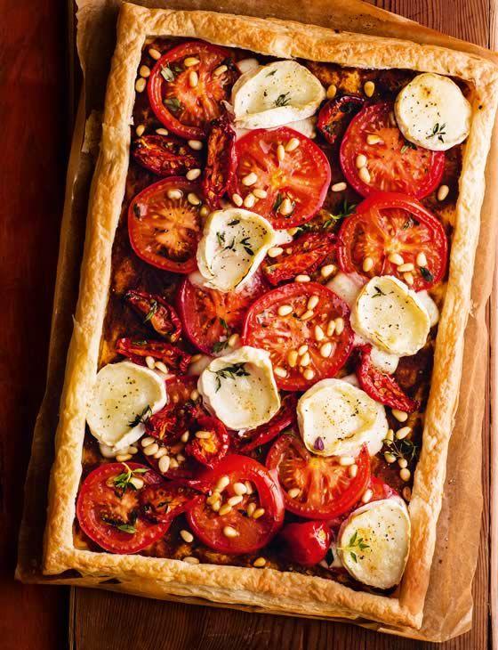 Tomato and goats' cheese tart http://www.sainsburysmagazine.co.uk/recipes/mains/veggie-2/item/tomato-and-goats-cheese-tart