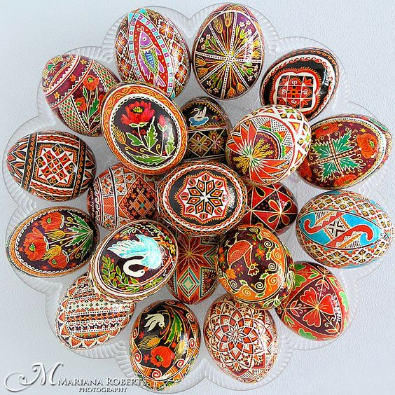 Pysanky - Traditional Ukranian Easter Eggs. Made using a process similar to batik................ I desperately need to replace my dyes so I can start making them again.