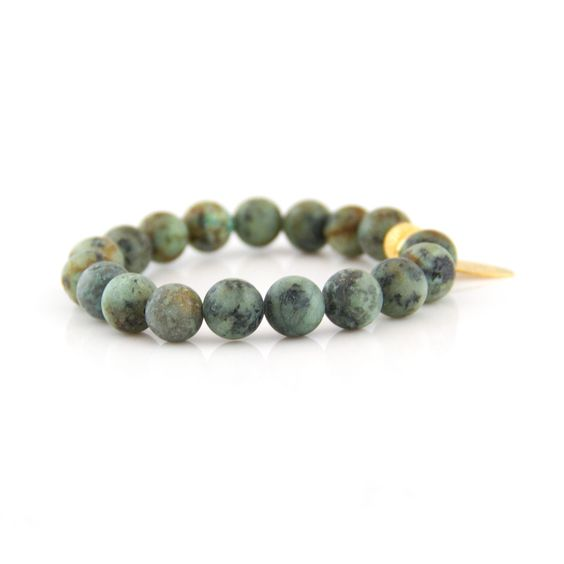 African Matte Turquoise Natural Stone Bracelet (10MM-gold)