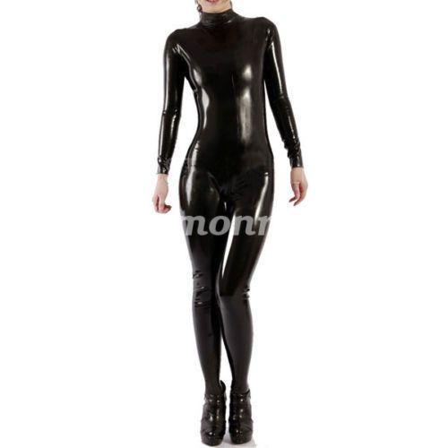 Lycra spandex Zentai Black metallic long stockings S-XXL
