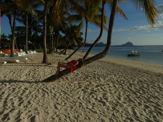 think i 'm in paradise!white sand, turquoise sea, palm trees..! and the sun!  Mauritius , Africa