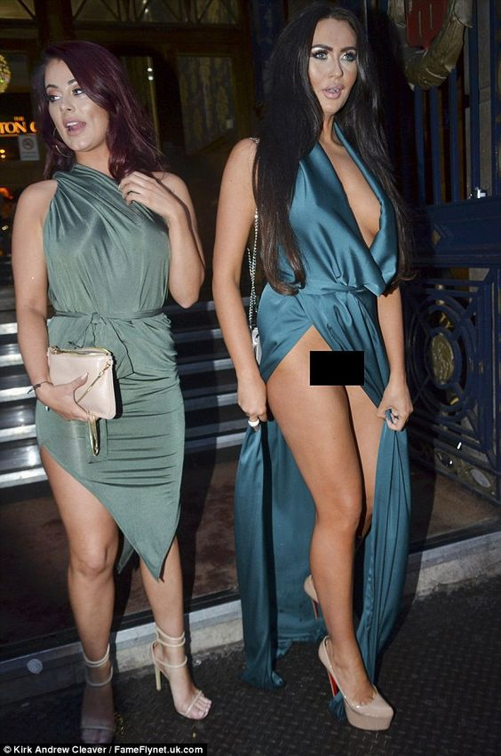 Oops: Clad in a plunging emerald gown, the 23-year-old reality starlet seemed in such high spirits that she neglected to realise her dress had fallen to the side as she headed home with Jess Hayes: