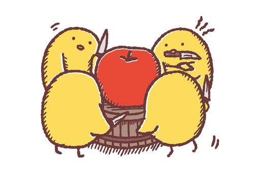 分配を考えるひよこはりんごの前で悩む