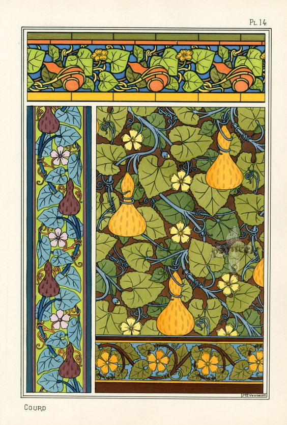 "Illustrations by M.P. Verneuil, ""Gourd"". This outstanding folio was published in 1896 under the direction of famed graphic designer, author and teacher Eugène Grasset:"