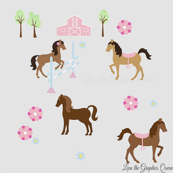 Horse rooms gray and wall stickers on pinterest for Horse fabric for kids