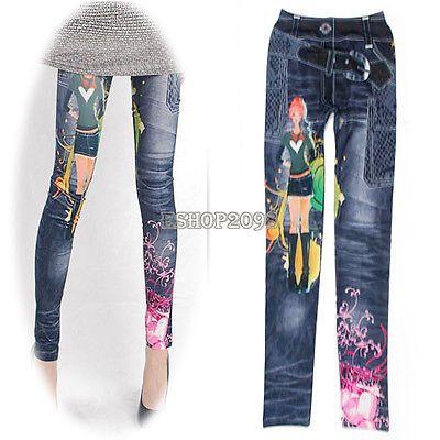 Pop Retro Print Jeggings Stretch Skinny Tights Pencil Pants Jeans Leggings EP98