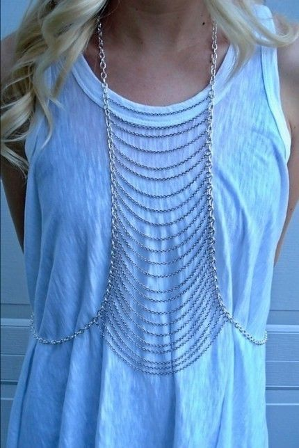 DIY | CHAINS (cutoutandkeep) | DIY 2: http://blog.boatpeopleboutique.com/diy-chain-harness | DIY 3: http://www.chictopia.com/photo/show/755483-DIY+Body+Chain-silver-body-chain-necklace: