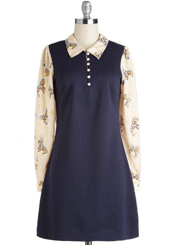 Deal Me In Dress in Carousel. Up the vintage-inspired ante in this quirky dress by Miss Patina. #blue #modcloth