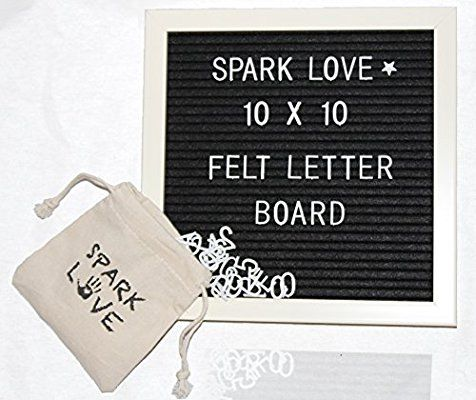 Amazon Com Spark Love Changeable Felt Letter Board W 296 Letters Numbers Symbols White Frame Black Felt 10x10 Felt Letter Board Letter Board Lettering