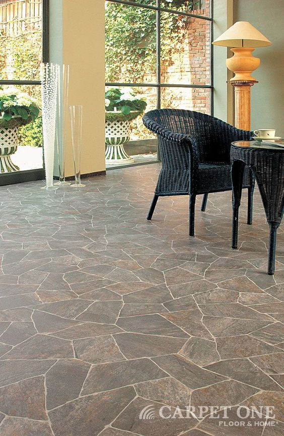 Exterior Vinyl Flooring #18: Looks Like Flagstone...but, Itu0026#39;s Vinyl! Learn More About Vinyl Floors