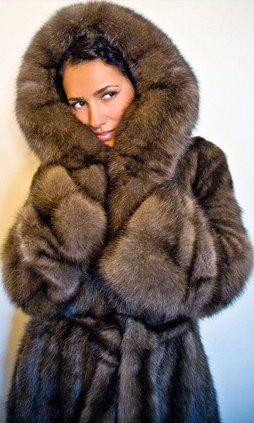 Sable Fur Hooded Parka
