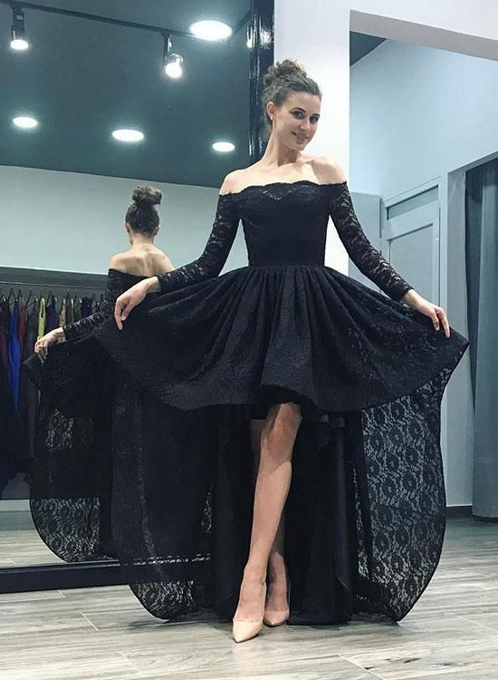 Black Lace High Low Long Sleeve Prom Dress Prom Dresses Long With Sleeves Prom Dresses With Sleeves Long Sleeve Homecoming Dresses