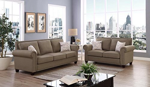 Oadeer Home Linen Fabric Tufted Nailhead Trim Chesterfield Inspired Design With Removable Cushion Living Room Sets White Furniture Living Room Tan Living Room