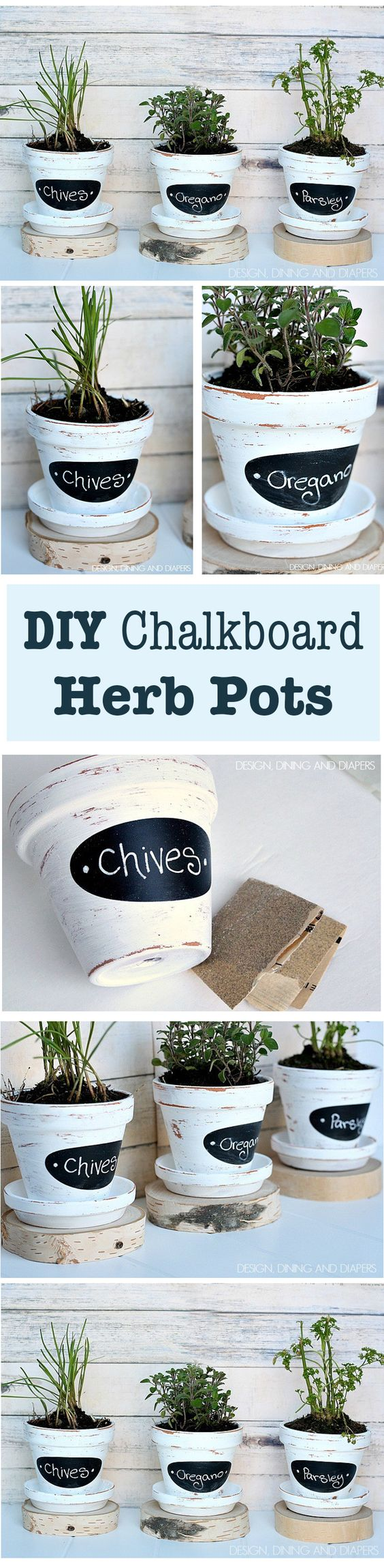 These Chalkboard Herb Pots are super trendy and really inexpensive to make and easy.