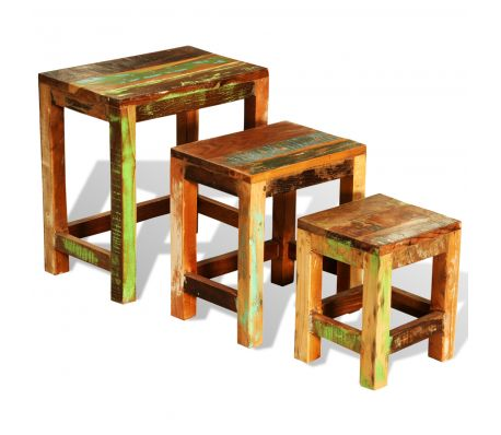 Τραπεζάκι ζιγκόν Σετ 3 τεμαχίων Αντικέ vintage: furniture, recycled wood furniture, multicolored furniture, aging furniture, furnishings aging technique, solid wood furniture, economic furniture, living room table, console, furniture, mirror, table sets, office,boho style, boho decor, decoration ideas, easy decor ideas, shabby chic,country style, home decor, home office, table, coffee tables, table set, concole, traditional style