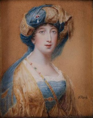 Priscilla, Lady Willoughby de Eresby, by Sampson Towgood Roch (after a miniature painted by Saunders 1810), mother-in-law of Sarah Clementina Drummond Burrell: