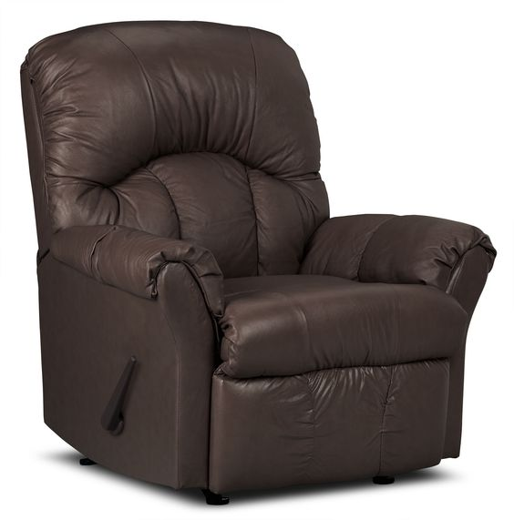 Designed2B Recliner 6734 Bonded Leather Rocking Chair - Walnut | The Brick