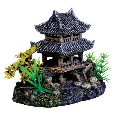 Pagoda temple aquarium ornaments and fish tanks on pinterest for Aquarium log decoration