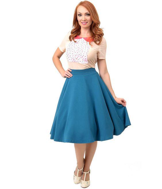 1950s Style Teal Blue High Waist Thrills Skirt