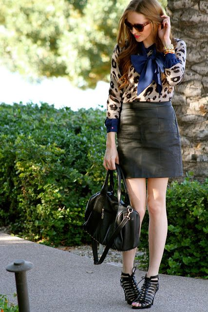 Leather Skirt, Leopard Sweater, and a Bow