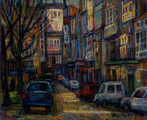 Ferrol calle Pardo Bajo, cera sobre papel