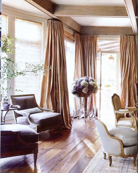 Euro-rustic room w/ billowing silk drapes; Eleanor Cummings