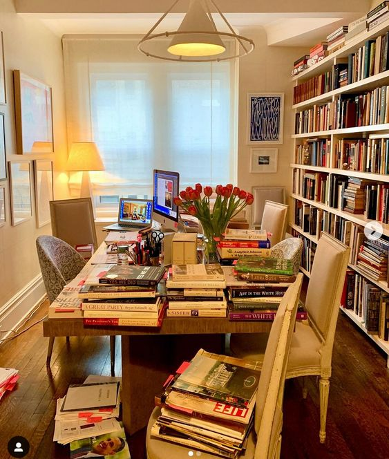Margaret Russell Instagram (August 2020), For more than a year I lived here, at my dining table, surrounded by stacks of reference books and notes as I researched, tracked down photos, and then wrote the text for my friend Michael S. Smith's new book, 'Designing History: The Extraordinary Art & Style of the Obama White House'.