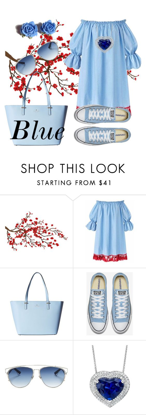 """""""After Blue 😊"""" by lovee-green ❤ liked on Polyvore featuring Brewster Home Fashions, Kate Spade, Christian Dior and Tarina Tarantino"""