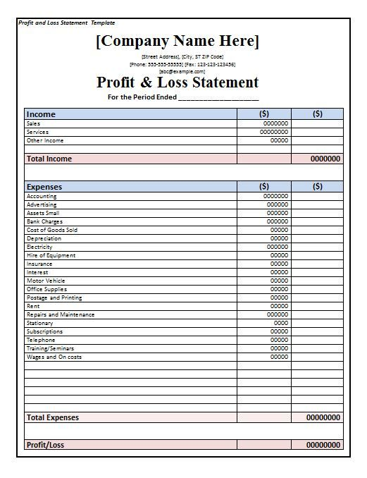 Profit And Loss Statement Form Profit And Loss Statement