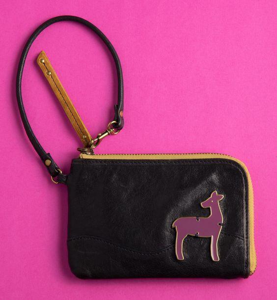 Fossil Pebble Leather Wallet/Wristlet, Navy Blue' with Enameled Deer Appliqué.  Yard Sale find $5.