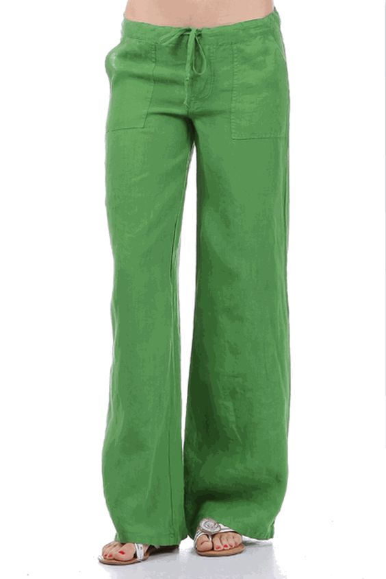 3395GR Jolie Pants GREEN Casual Drawstring waist Wide Leg Linen ...