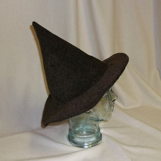 Brown Fuzzy Witch Hat Unwired Brim by RoyalHouseOfWhimsy on Etsy