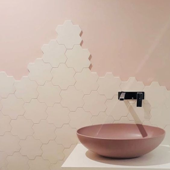 Camillo Sorrentino - bathroom wall tiles made with Estella's signature porcelain tiles from the Geomat collection by Tonalite