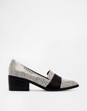ASOS SAY GOODBYE Loafer Heels - Mono