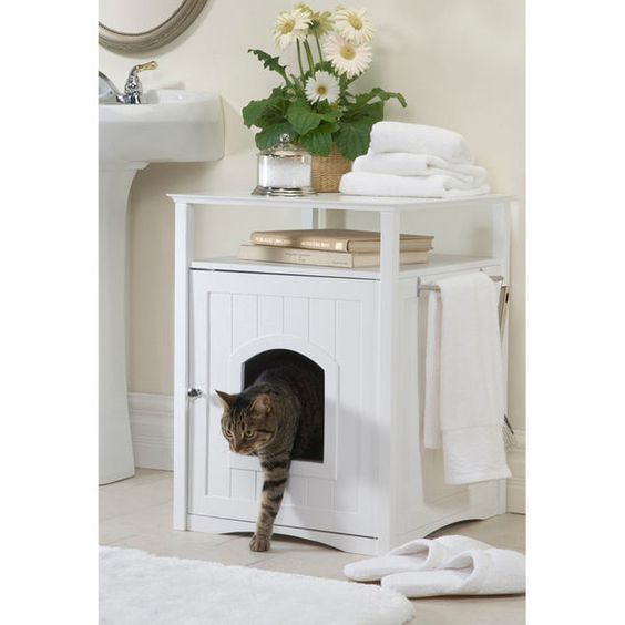 Litter Boxes 100411: White Interior Hidden Cat Kitty Litter Box Enclosure BUY IT NOW ONLY: $94.82