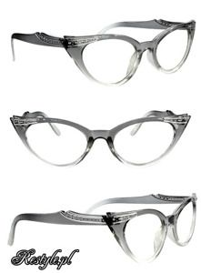 Cat eyes clear glasses gray & Clear,Rockabilly eye glasses ...