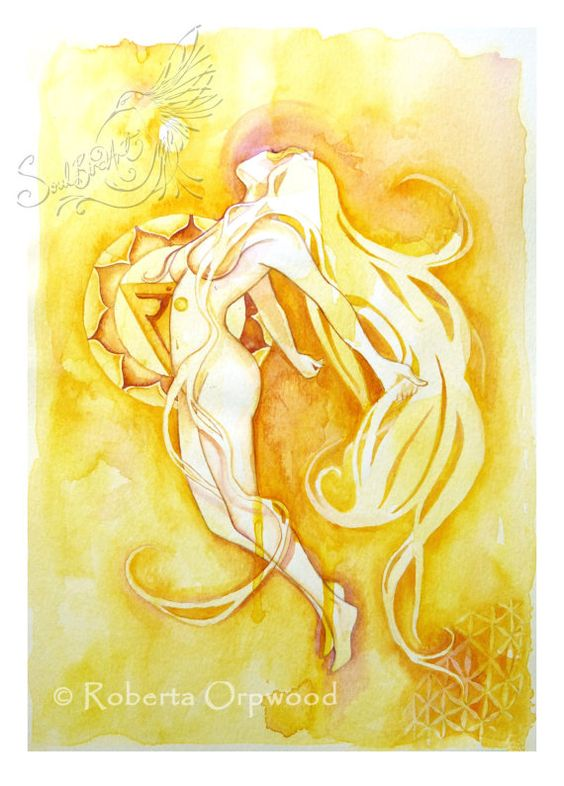 Solar Plexus Chakra Goddess / 'Manipuraka' Yellow Goddess / Wall Art ~ Art Print from original artwork by Roberta Orpwood
