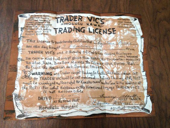 Trader Vic's Honolulu Hawaii Trading License Hi RARE 1945 Zombies Granny Abbott | eBay