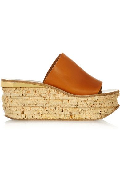 Chloé Leather and cork wedge sandals #Chloe