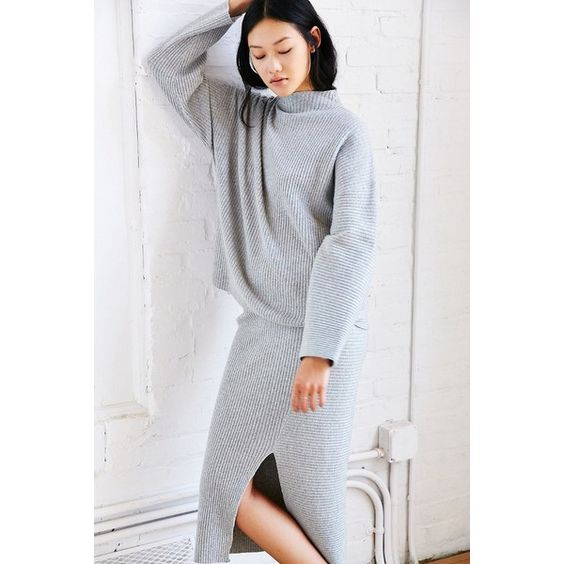 Cheap Monday Rival Knit Sweater ($115) ❤ liked on Polyvore featuring tops, sweaters, grey, boyfriend sweater, grey knit sweater, gray knit sweater, mock sweater and boatneck sweater