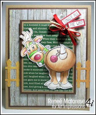 Art Impressions Rubber Stamps: Jingle Set (Sku#4681), Ai Shakers, handmade Christmas card. Rudolph, wobbles, bells,:
