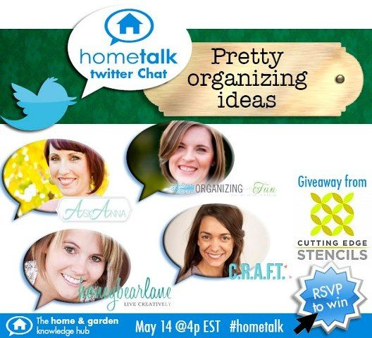 Photo: Hey Stencil Tweeps! Join us today at 4pm EST for a Pretty Organizing Ideas Twitter Party with Hometalk. Use hashtag #hometalk. Oh and we'll be giving away a FREE stencil (value $50) during the party!    RSVP here: http://blog.hometalk.com/rsvp-hometalk-pretty-organizing-ideas-twitter-chat/