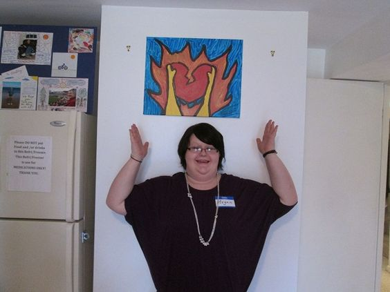 """Studio 35 artist Megan from VA, showcasing her painting titled """"Come Hell or High Water"""" #FHR #Studio35 #ArtTherapy www.fellowshiphr.org"""