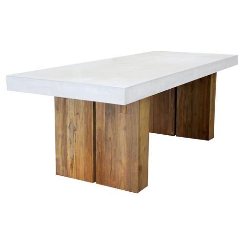 Cooper Modern Rectangular White Concrete Teak Base Outdoor Dining Table Small In 2021 Concrete Dining Table Modern Dining Table Teak Dining Table